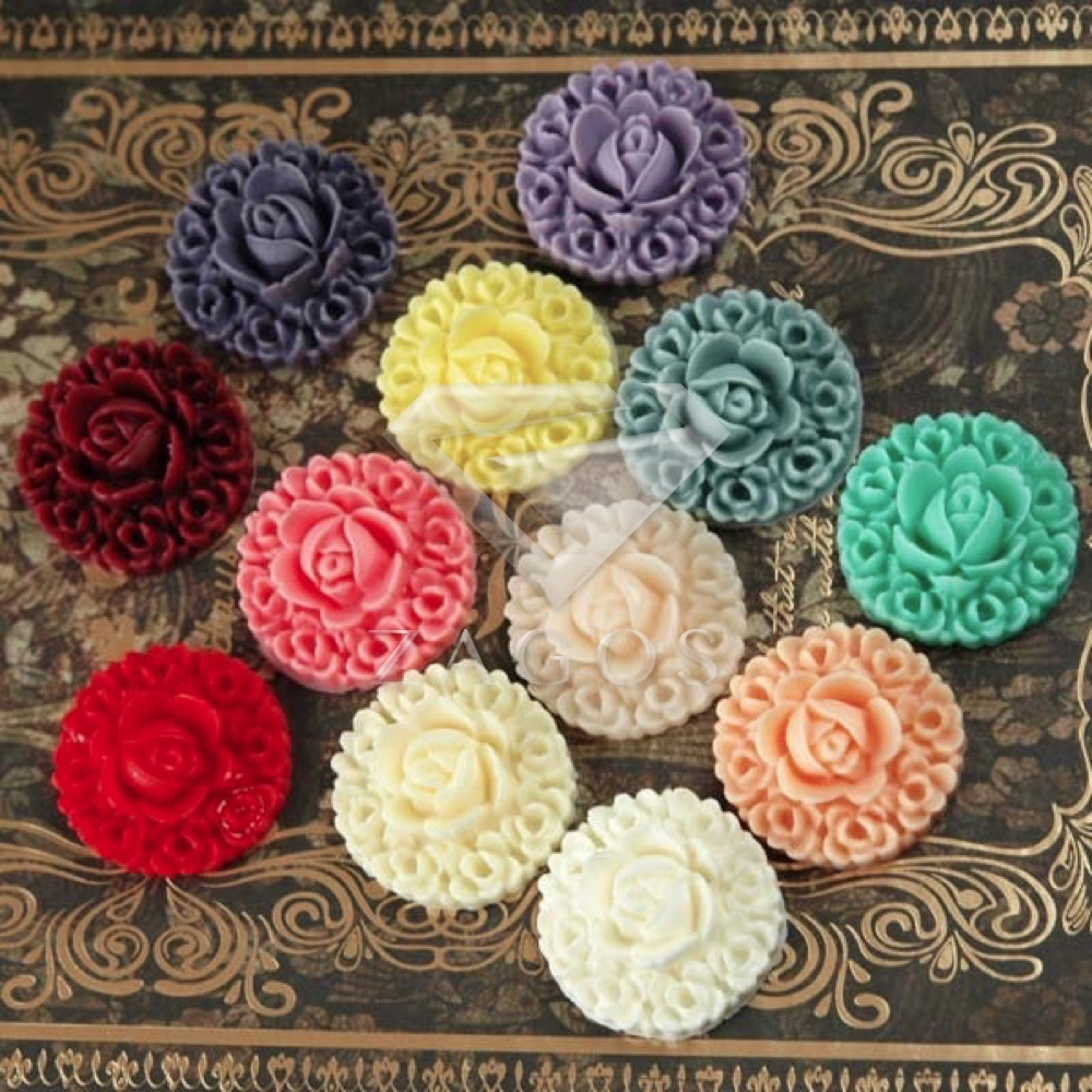 4/12Pcs Resin Vintage Style Flower Flat Back Cabochon 20x20x8mm For Jewelry Accessories Flatback Wholesale RB0540