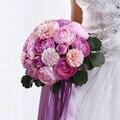 2017 Искусственный Пион Рамос Де Novia Свадебный Букет для Невесты и Свадебные Acessory Элегантный Лаванда Свадебные Букеты