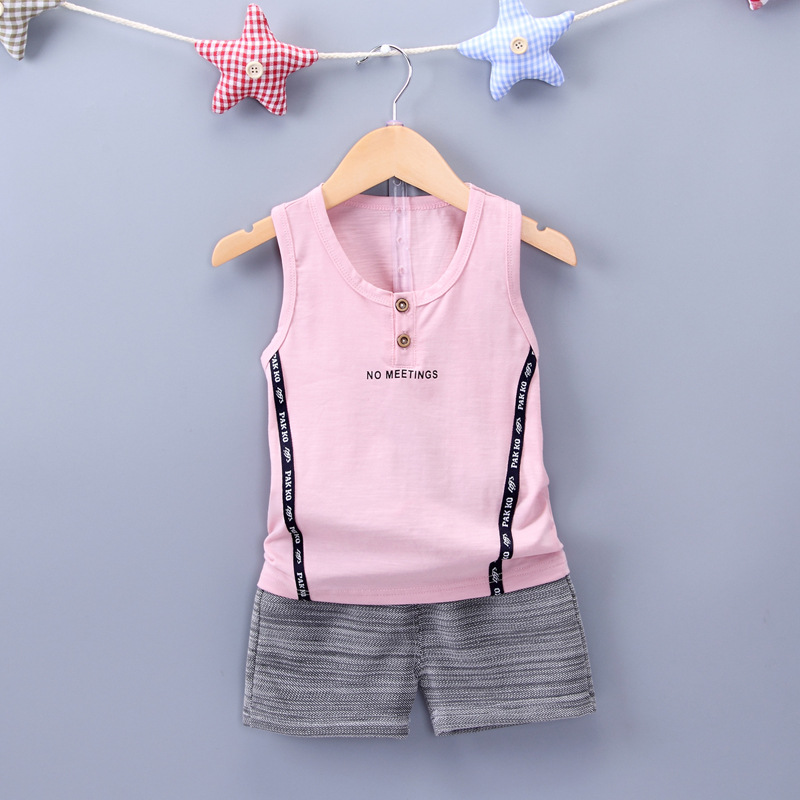 2017 Summer Childrens Clothing Sets Baby Boy Sports Suit Sets Kids Clothing Suit Set Cotton Sleeveless T-shirt+casual Shorts