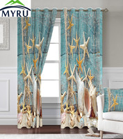 Anticorrosive Metal Grommet Creative Bench Curtains Starfish Curtains Sea Curtain For Bedroom And Living Room