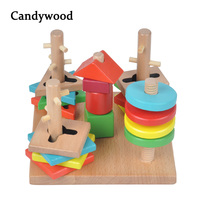 Kids Wooden Toys Montessori Educational Toys Tower Game Building Blocks 5 Pillar Matching Color Shape Wooden Blocks toys