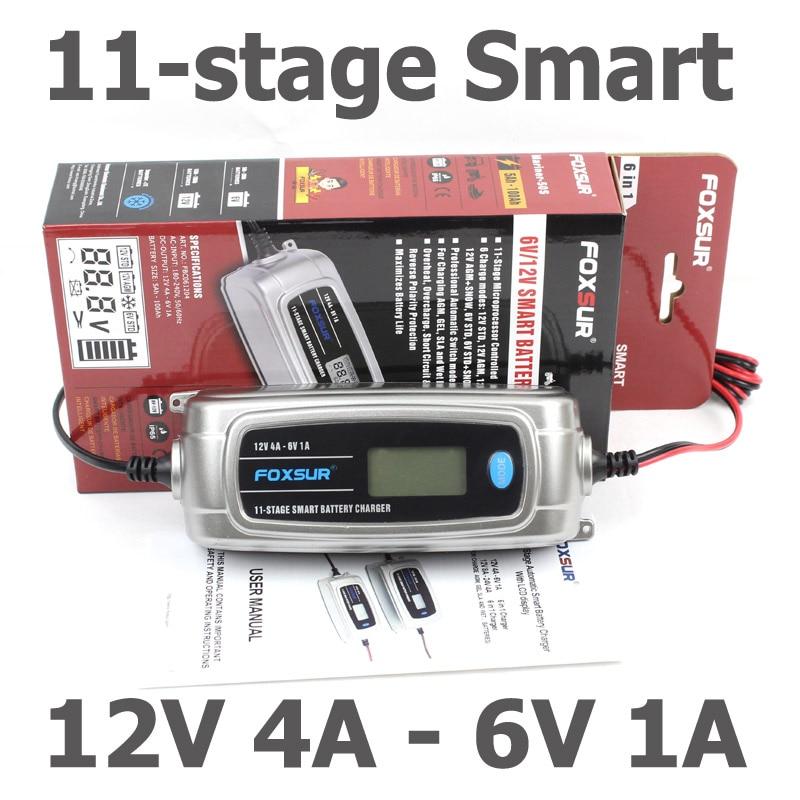 Chargeur de batterie de voiture FOXSUR 6 V 12 V avec affichage LCD, chargeur de batterie intelligent en 11 étapes, chargeur de batterie électrique pour enfants 6 V