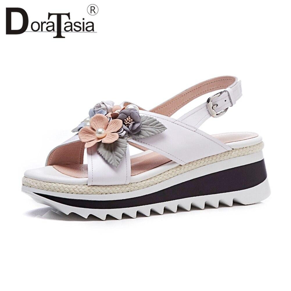 Doratasia 2019 Summer Brand Quality Genuine Leather Sandals Women Sweet Flower Appliques Platform High Wedges Shoes