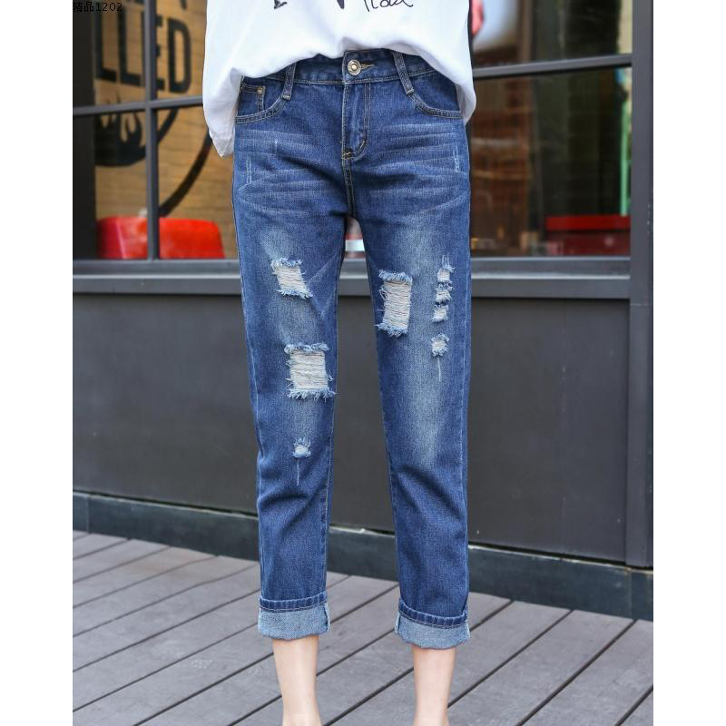 With High Waist Jeans Washed Fashion Holes Jeans Pants 2019 Woman Ankle-length Straight Plus Size Trousers Jeans For Women Jeans