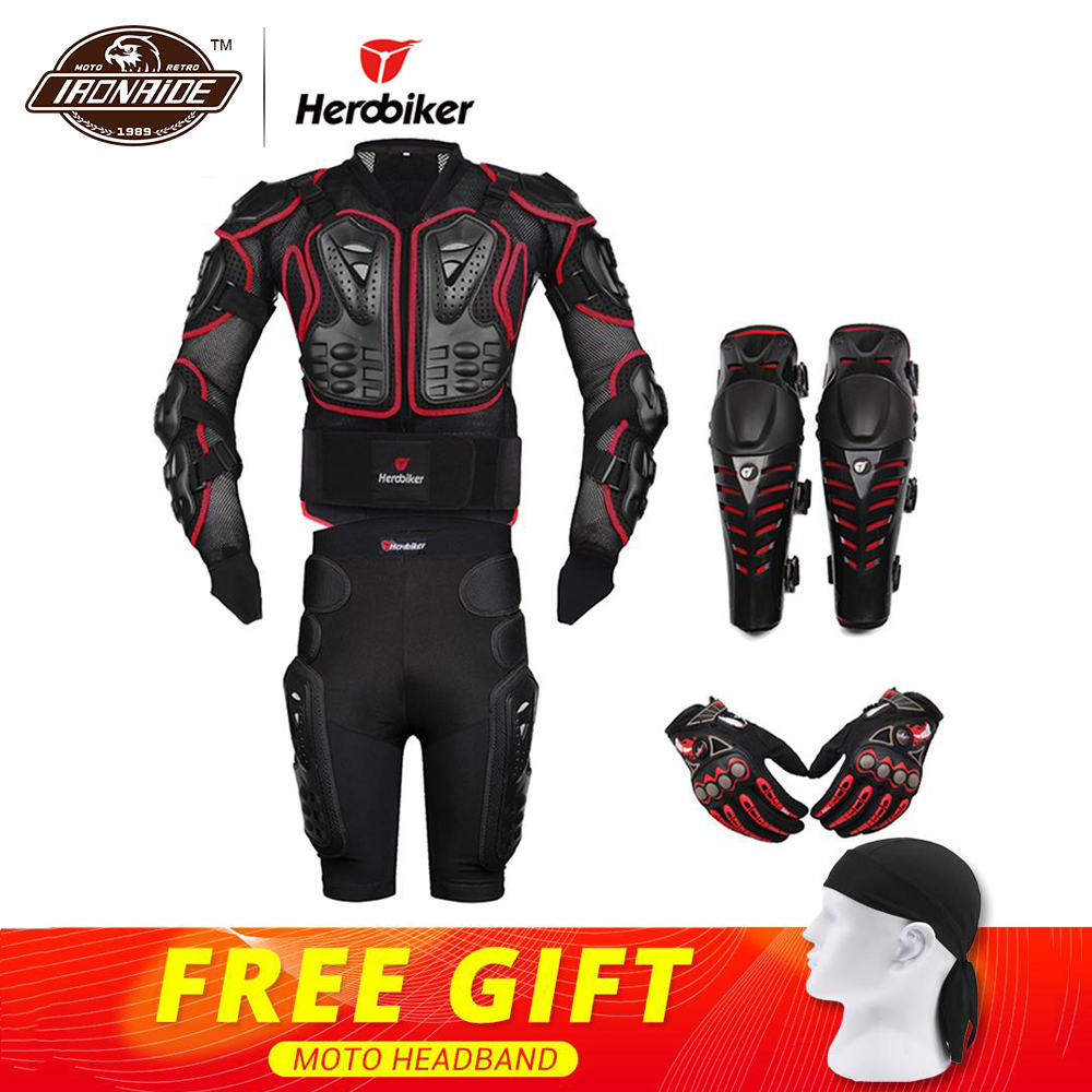 HEROBIKER Red Motocross Racing Motorcycle Body Armor Protection Motorcycle Jacket+Shorts Pants+Protective Gear Knee Pads+Gloves herobiker armor removable neck protection guards riding skating motorcycle racing protective gear full body armor protectors