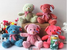 10 pieces cute heart teddy bear toy plush muti-colour bow bear toys wedding gift doll about 30cm