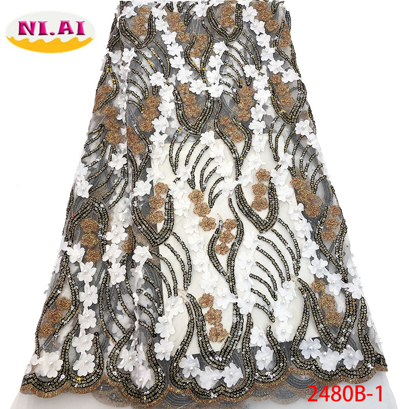 African Laces Fabric Embroidered Nigerian French Lace Fabric 2019 High Quality Lace French Sequins Net Lace