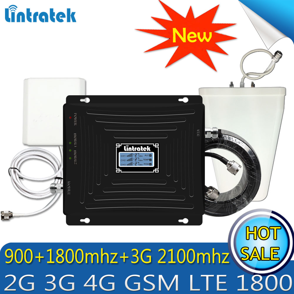 Amélioré Tri-Bande Booster GSM 900 1800 WCDMA 2100 70dB 2g 3g 4g LTE 1800 Mobile répéteur De Signal cellulaire Amplificateur pour L'europe