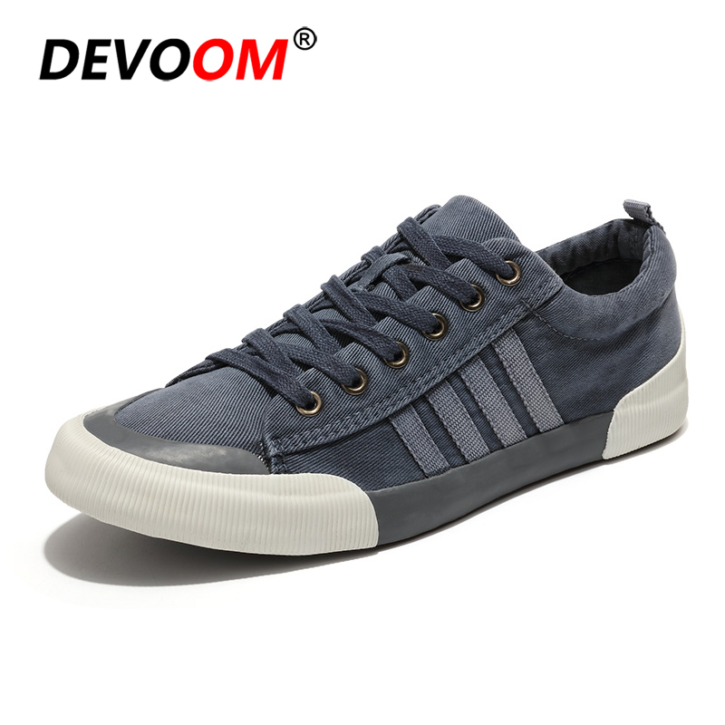 High Quality Fashion Retro Mens Shoes Men Canvas Shoes Hard-Wearing Shoes Casual Male Spring Lace-up Hot Sale Flat Footwear 2018