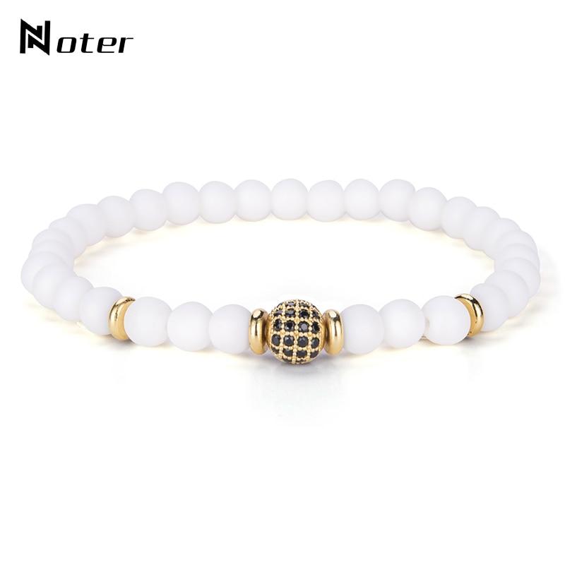 Luxury Black Zirconia Natural Stone Bracelet 6mm White Beaded Elastic Braclets For Women Men Yoga Jewelry pulseira feminina Gift