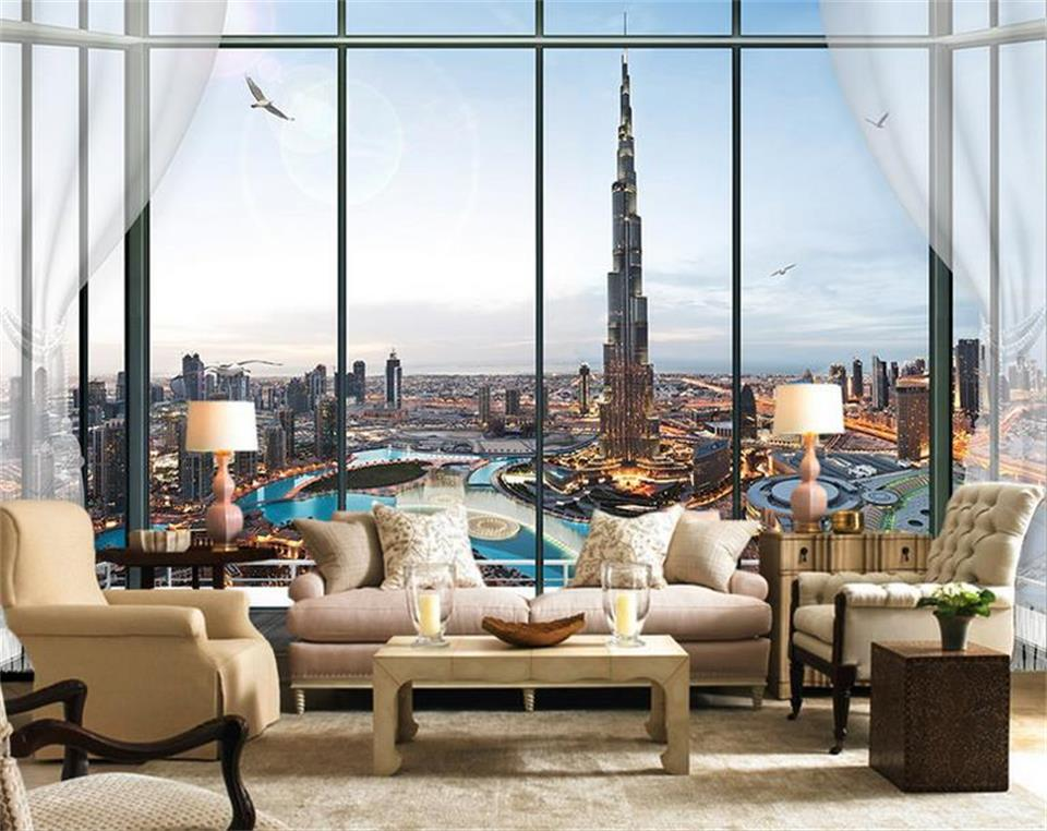 photo wallpaper custom 3d mural living room window Burj Dubai city painting sofa TV background non-woven wallpaper for walls 3d custom green 3d large natural landscape living room tv background wallpaper mural fresh grass mountain animal sheep for walls
