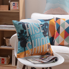 Wholesales Home Decorative Cushion Cover Pillow Case Colorful Geometric Holiday Palm Tree Triangle Sky Blue 45x45cm/30x50cm