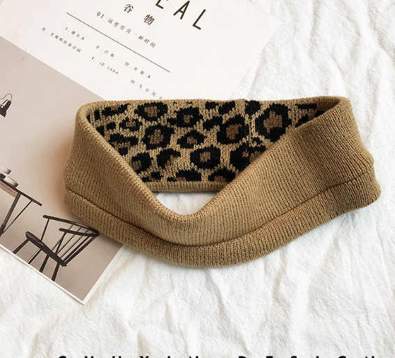 Новая Винтажная леопардовая Вязаная Шерстяная головная повязка в виде чалмы для женщин и девочек повязки для волос аксессуары для упаковки Женская повязка для волос головной убор