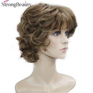 Image 2 - Perruque synthétique beauté forte avec bouts bouclés, 17 couleurs, pour femmes, perruque en Fiber courte avec frange superposée