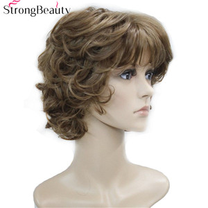 Image 2 - Strong Beauty Synthetic Wigs Womens Curly Ends Short Fiber Wig With Layered Bangs 17 Colors