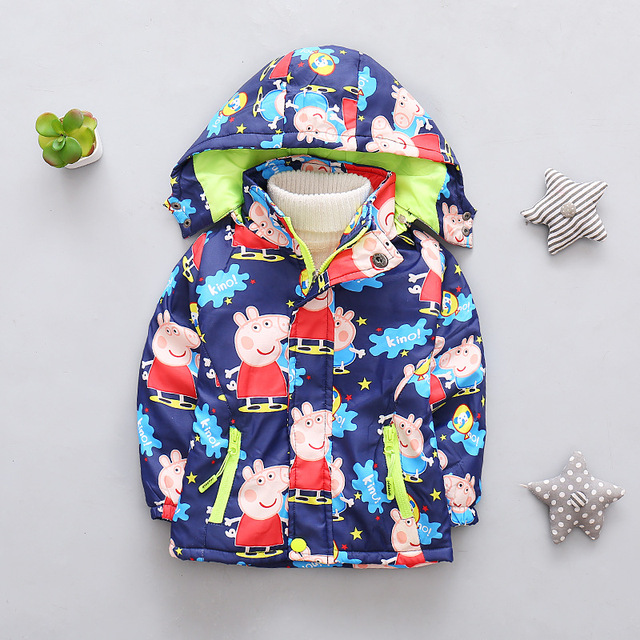 Moda Inverno meninos grils spr Pepe porco padrão de roupa dos miúdos das Crianças cardigan jaqueta com zíper desenhos animados outerwear windbreaker tops