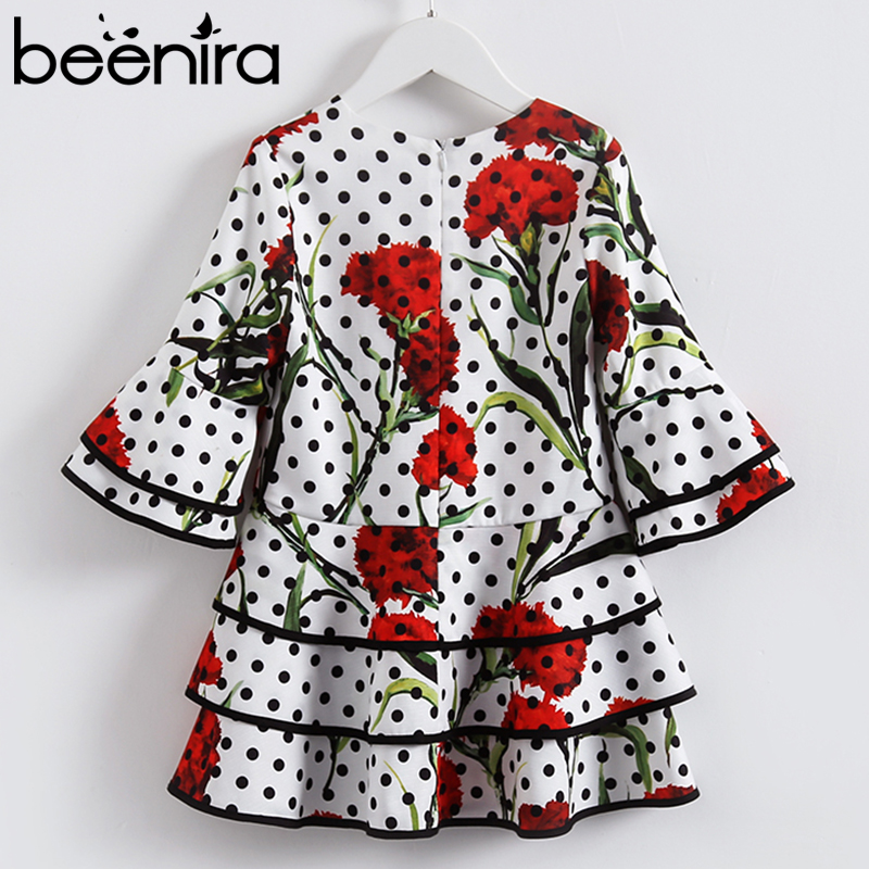 Beenira Girls Dress 2018 New European And American Autumn Style Children Dot Pattern Flore Pattern Dress 4-14Y Layered Dress beenira girls dress 2017 new european and american style kids printed pattern long sleeve dress for 4 14y children autumn dress