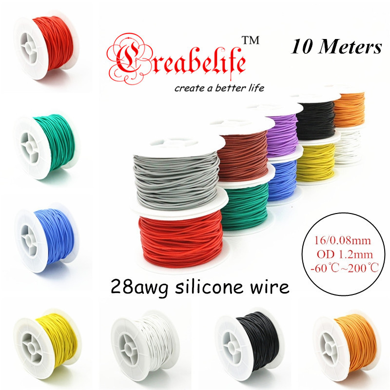 10 Meters 28 AWG Flexible Silicone Wire RC Cable 28AWG 16/0.08TS Outer Diameter 1.2mm With 10 Colors to Select 1meter red 1meter black color silicon wire 10awg 12awg 14awg 16 awg flexible silicone wire for rc lipo battery connect cable