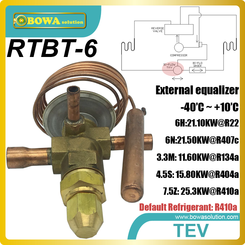 RTBT-6 Bi-flow thermostatic expansion valves(TEV, TXV) are installed int heat pump air onditioner and water heater equipments rtb 8 42 2kw r410a bi flow tev is installed in heat pump water heater and air conditioner and reduce refrigeration omponents