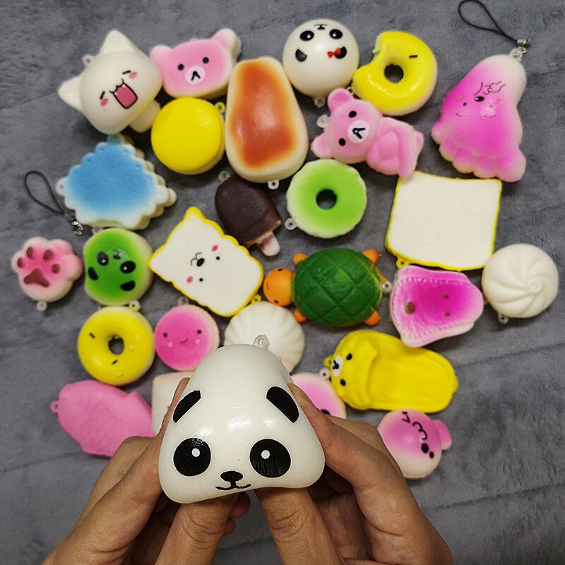 30Pcs Cute Mini Soft Random Squishy Simulation Kawaii Panda Macaron Cake Dessert Phone Straps Decor Gift to Release Stress