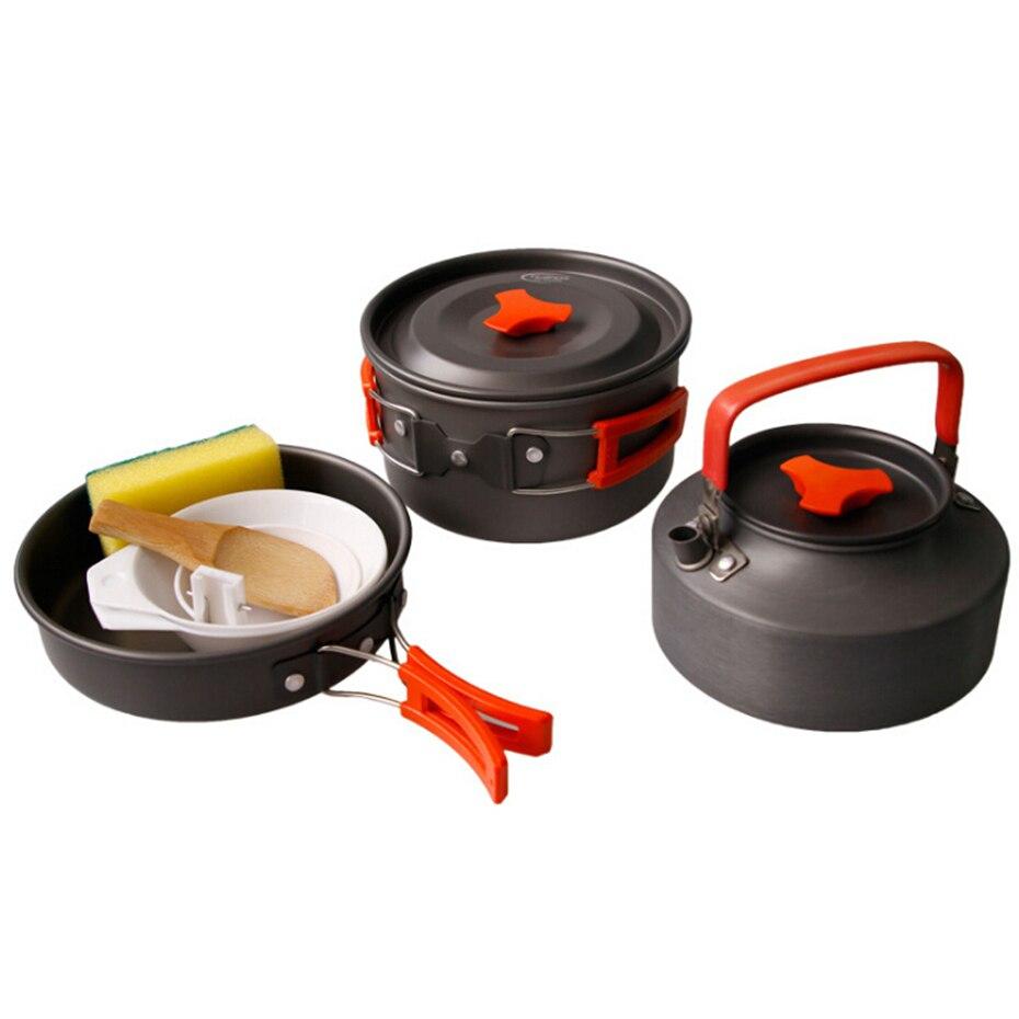 YINGTOUMAN 8 pièces Portable extérieur ustensiles de cuisine bol Pot cuillère pour la chasse Camping randonnée sac à dos voyage vaisselle pique-nique Pot ensemble