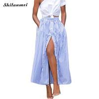 2017 Mode Coréenne Femmes Casual longue jupe africaine 2017 D'été Rayé Vertical Unique Poitrine longue Cheville Longueur Jupe saia