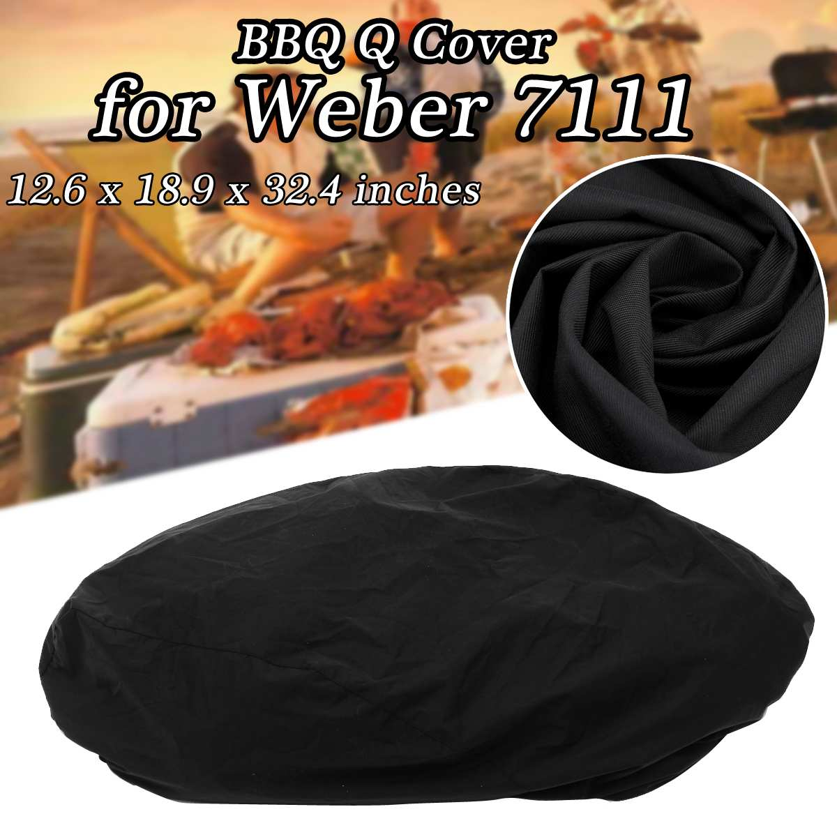 12.6x18.9x32.4 inch Waterproof BBQ Cover Accessories Grill Cover Anti Dust Rain Gas Charcoal Barbeque Grill for Weber 7111 Black Гриль