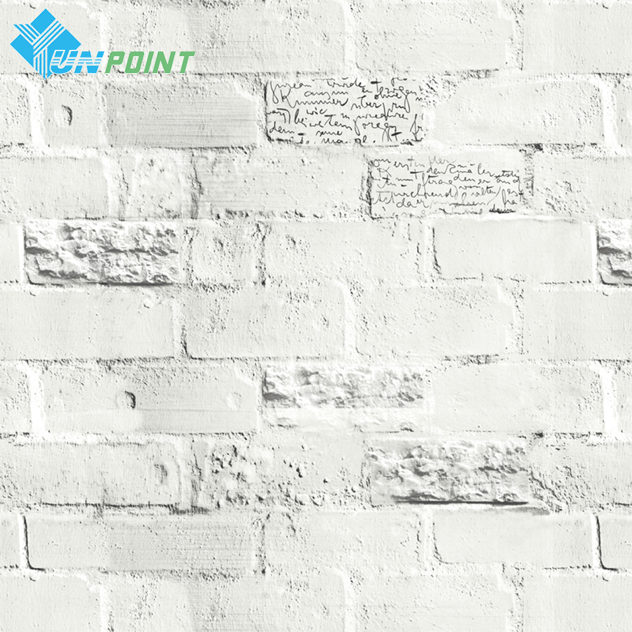 0.6x3m Modern English Letter Brick Wall Sticker PVC Self Adhesive Wallpaper Living Room Dorms Clothing Store Waterproof Stickers