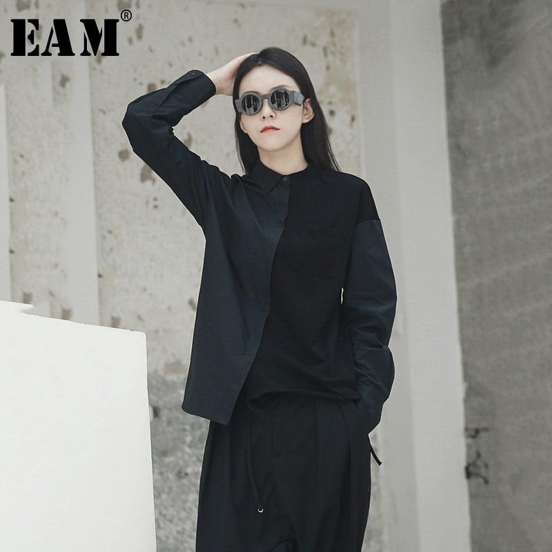 [EAM 2019 nueva primavera verano solapa manga larga Color suelto breve Irregular costura camisa blusa de las mujeres de moda marea JH418
