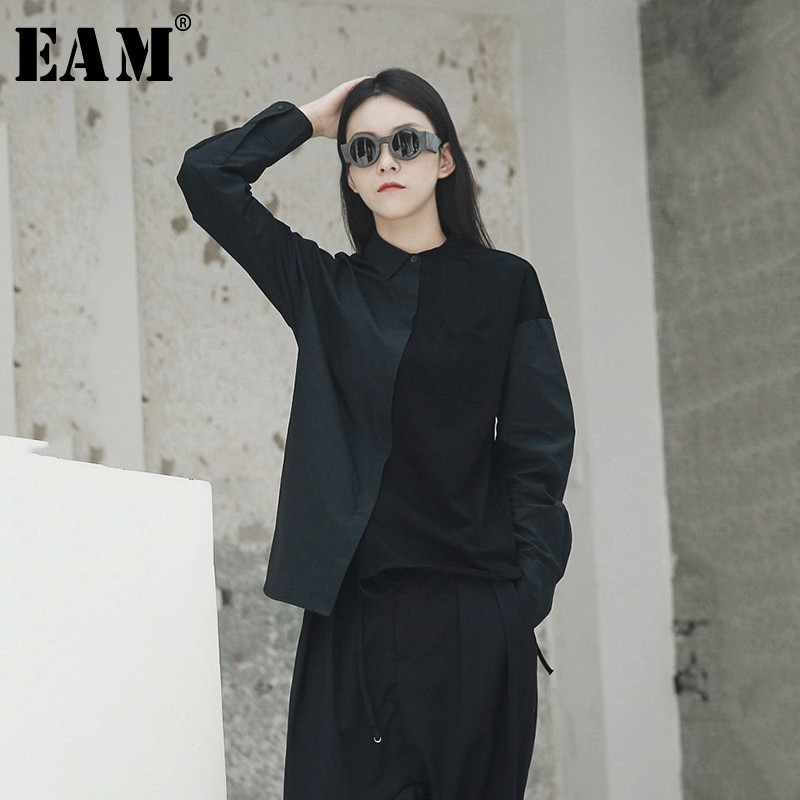 [EAM] 2020 New Spring Autumn  Lapel Long Sleeve Hit Color Loose Brief Irregular Stitching Shirt Women Blouse Fashion Tide JH418