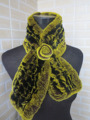 Genuine  rex rabbit fur  scarf wrap cape  collar rose flower decorationyellow with black  shipping free