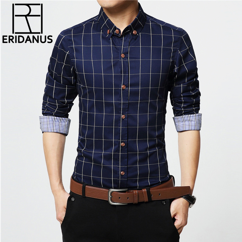 ERIDANUS 2017 Men's Plaid Cotton Dress Shirts Male High Quality Long Sleeve Slim Fit Business Casual Shirt Plus Size 5XL M433(China)