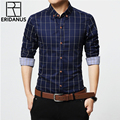 ERIDANUS 2016 Men's Plaid Cotton Dress Shirts Male High Quality Long Sleeve Slim Fit Business Casual Shirt Plus Size 5XL M433