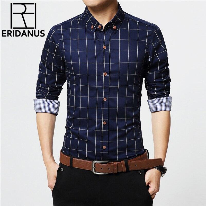 ERIDANUS 2017 chemises habillées en coton à carreaux pour hommes de haute qualité à manches longues Slim Fit Business décontracté chemise de grande taille 5XL M433