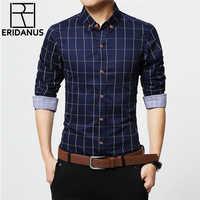 ERIDANUS 2017 camisas de vestir de algodón a cuadros para hombre de alta calidad de manga larga ajustada de negocios Casual Camisa de talla grande 5XL M433