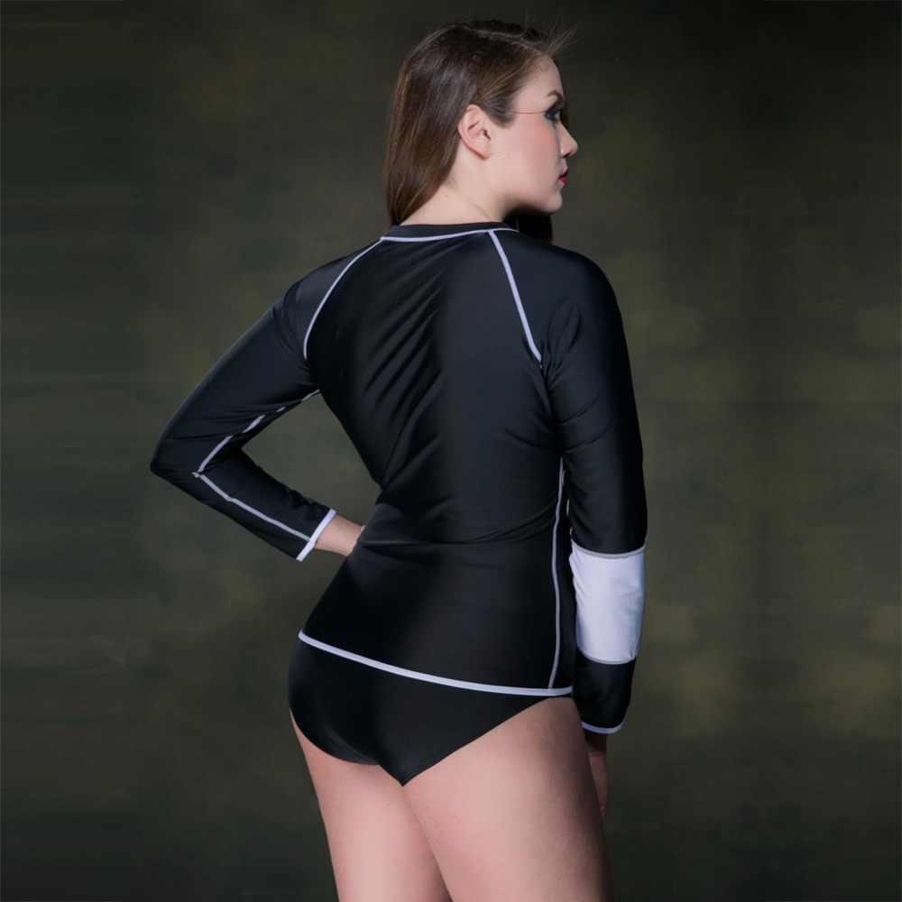 6daeb209e5a96 ... 2017 New Women Swimsuits Long Sleeve Swim Shirts Anti UV Tops Zipper Plus  Size beach diving ...