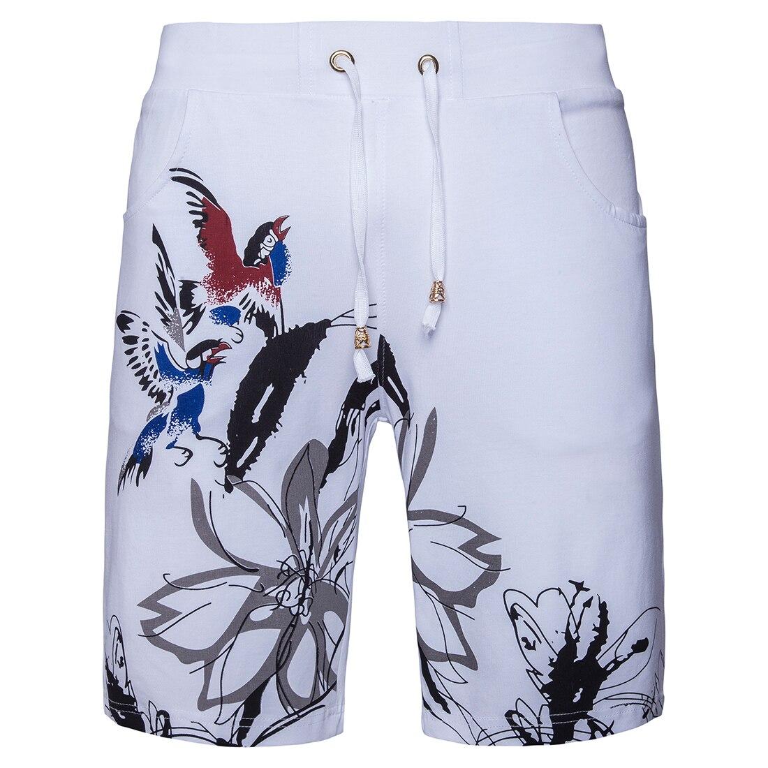 2018 Summer Mens White Stretch Cotton Shorts, Fashion Casual Drawstring Shorts Men High Quality Man Flower Shorts S-2XL