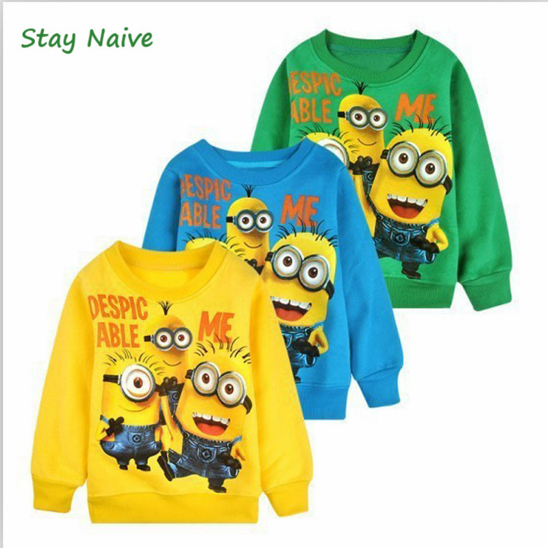 2017 New 1pcs baby boys girl Cartoon design round minion collar fleece children wear t-shirts Children's clothes ATX014