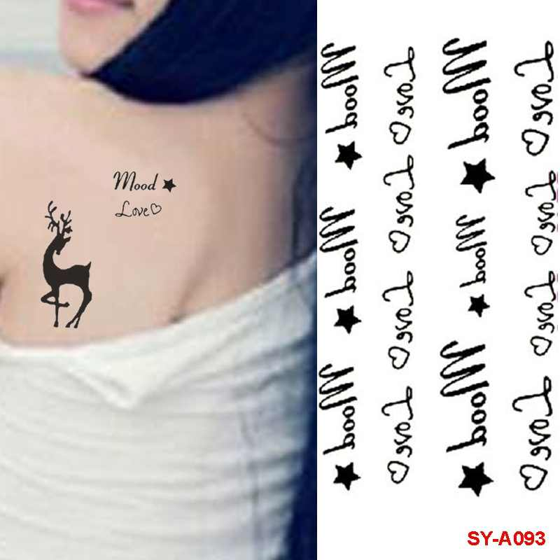 7aba1c12a ... Waterproof Temporary Tattoos Sticker UFO Cartoon Animal Deer Flower Red  Lips Text Fake Tattoo Body Finger ...