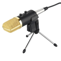 Audio Dynamic USB Podcast Condenser Microphone PC Recording MIC + Stand Tripod Gold