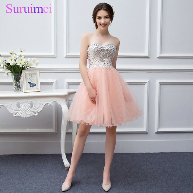 Real Picture Stuning Beaded Short Strapless Dress Color Tulle Coral