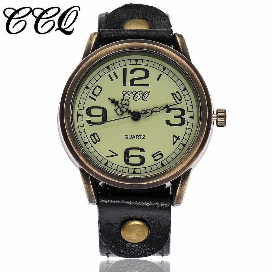 CCQ ブランドユニセックス女性男性簡体字ダイヤル腕時計ヴィンテージ本革ストラップ防水クォーツ腕時計 Montre ファムホット