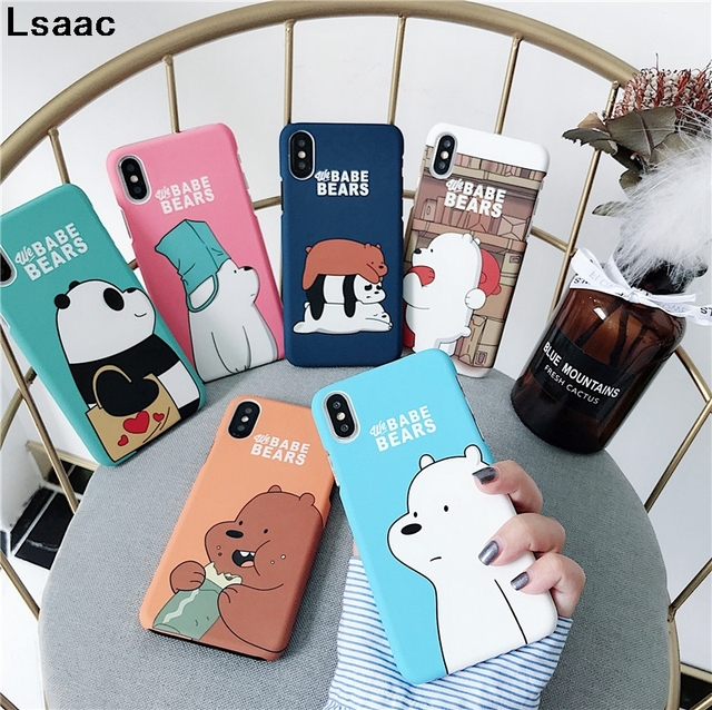 sale retailer 260fe 5e7f2 US $2.79 15% OFF We Bare Bears Hard Phone Cases For iPhone 7 7plus 8 Plus 6  6s Plus Cute Cartoon Hard PC Back Cover Case For iphone X XR XS MAX-in ...