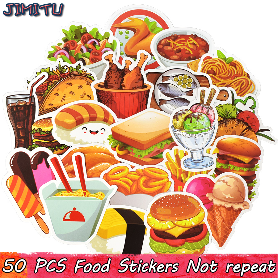 50 PCS Fast Food Drink Stickers Cartoon Delicious Dessert Diet Creative Sticker to DIY Refrigerator Laptop Luggage Fridge Bike