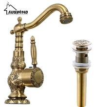 Античный латунный бортике смеситель для воды с одной ручкой один горячей и холодной воды резной кран для ванной комнаты со сливом