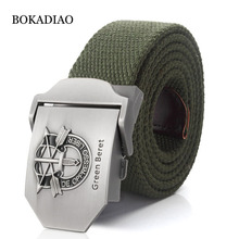 BOKADIAO New men s Canvas belt luxury Green Beret Metal buckle Retired soldier Military Army tactical