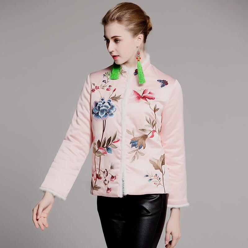 Qualité Haute Automne Warm Épais S Style xxl Brodé Noir Hiver rose Manteau Veste Royal Femelle Tops Femmes Court Noir Chinois Vintage BoderCWx