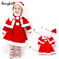 [LOONGBOB]2017 New Autumn baby girl 3pcs set children christmas styling bebe dress+cloak+hat suits infants New Year clothes 128A