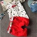 Muchachos Que Arropan 2017 Nuevo Estilo de Moda de Verano Ropa de Niños Establece Camisa de la Impresión + Pantalones Rojos + Cinturón 3 Unids para Niños Ropa