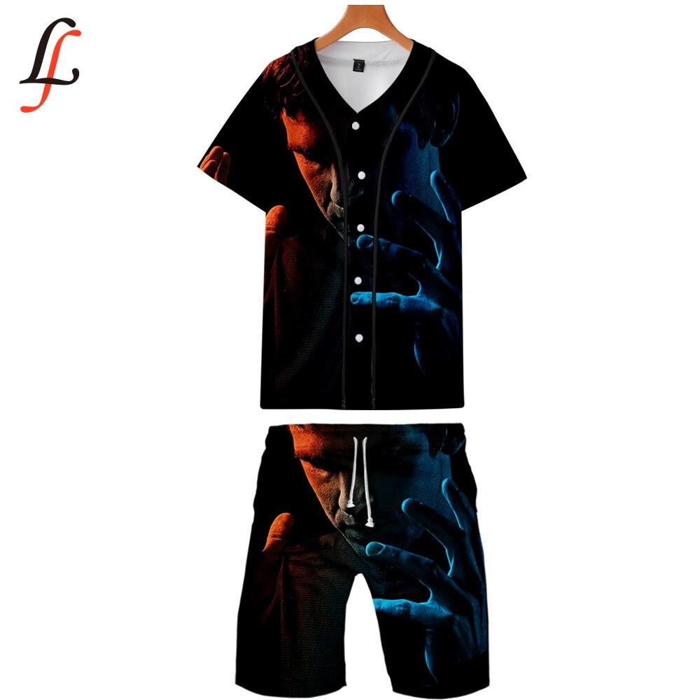 Legion Summer New Men Causal Beach Suits Short Sleeve Shorts Sweatsuit+Pants Quick-dry Tracksuit Men's Sports Suits Sportswear